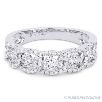 0.89 ct Round Cut Diamond 5-Stone Ring & Halo Pave 18k White Gold Wedding Band