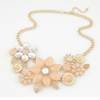 New Fashion Charm Necklaces For Women Rhinestone Statement Bright Bauhinia Big Flower Necklace & Pendant 1N022