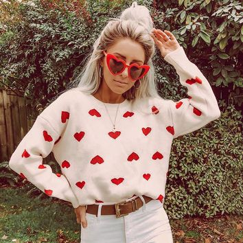Fashion High Street White Crochet Heart Pullover Casual Loose Lantern Sleeves Jumpers