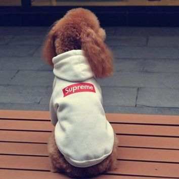 Supreme Dog Pet Puppy Hoodie Thick Fleece Clothing Coat