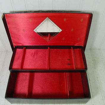 Vintage Black Leatherette Lift Top Jewelry Box with Gold Tooling Trim - Red Satin Interior with 2 Tiers & Mirror - Large Shabby Display Case