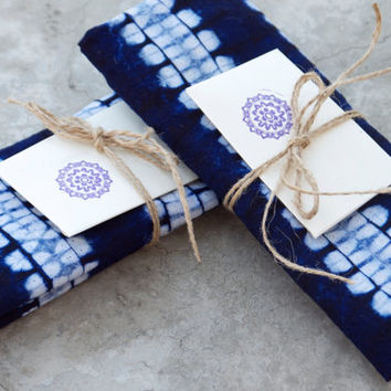 Dark Blue Tea Towel SET OF FOUR Indigo Navy Tie Dye Cotton Decor Ethnic  Style Homeware