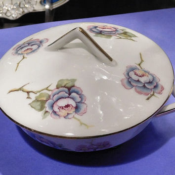 Vintage Limoges Individual French Soup Tureen 1920s 20s Art Deco Limoges France Floral Flowers Cottage Chic French Kitchen Countryside Dish