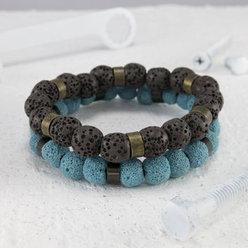 Men Bracelet Set - Men Beaded Bracelet - Men Vegan Bracelet - Men Jewelry - Men Gift - Guys Bracelet - Guys Gift - Boyfriend Gift - Husband