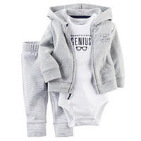 Carter's Boys 3 Piece Light Grey Hooded Cardigan, Striped Pant and White