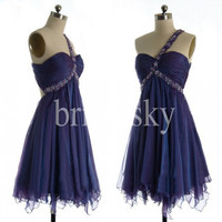 Short Royal Blue One Shoulder Prom Dresses Sexy Open Back Party Dresses Homecoming Dresses 2014 New Fashion