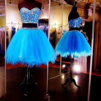 Party Gowns New Sweetheart US2 4 6 8 10 12 14 16++ Short Cocktail Dresses Shiny Two Piece Tulle Vestidos de Fiesta 2017 Fashion