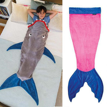 The New Creative Shark Mermaid Blanket Towel Handmade Animal Sleeping Bag