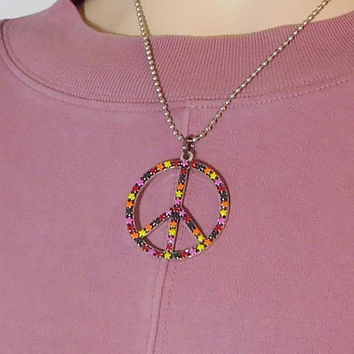 Painted Metal Peace Sign Pendant Silver Ball Chain Necklace Colorful Rasta Colors Hippie Jewelry Boho Bohemian Festival Accessory Stars