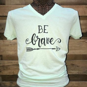 Southern Chics Apparel Be Brave Arrow Canvas Girlie V-Neck Bright T Shirt