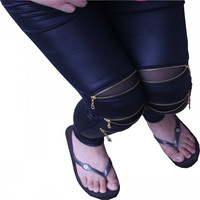2016 Fashion Spring And Summer Style Sexy Women Imitation Leather Stretch Black Jegging 3 Zippers Legging Pants Skinny For Girl