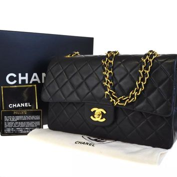 CHANEL BLACK QUILTED 2.55 LAMBSKIN VINTAGE MEDIUM CLASSIC DOUBLE FLAP BAG GHW A7