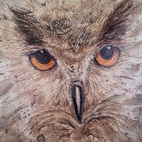 """The Flying Cat - Great Horned Owl - Alcohol Ink on Ceramic 13"""" x 13"""" Tile"""