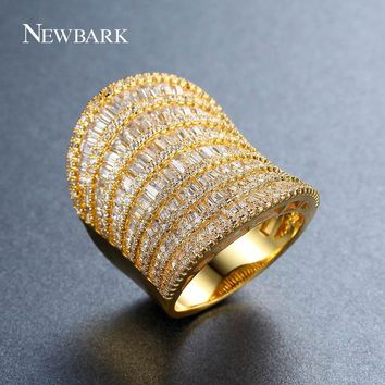 NEWBARK Gold Color Crystal Rings Big Wide Multi Row Stacked Trendy Jewelry Female Finger For Party Wedding Hot Seller Ring