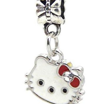 JampM Hello Kitty with Crystal Red Bow Charm Bead for Bracelets