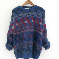 80s sweater. oversized graphic sweater. bill cosby sweater. blue and red. men's size L