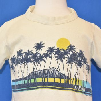 80s Hawaii Palm Trees Volcano Sunset Vintage Tee Toddler 3T