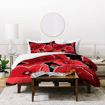 Belle13 Red Poppies On Black Duvet Cover