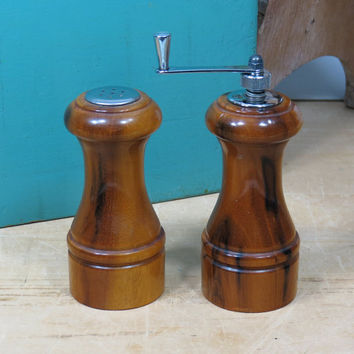 Vintage Wooden Pepper Grinder & Salt Shaker Set • Turned Wood • Pepper Mill • Honey Colored Wood