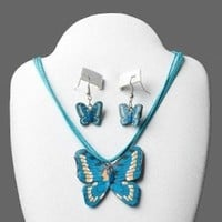 Blue Butterflies Fimo Polymer Clay Necklace and Earrings Jewelry Set
