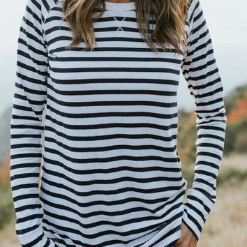 """Alara"" Relaxed Striped Top"