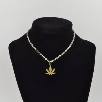 Weed Leaf Brass Earrings, Silver Earrings, Brass Pendant, Dope Marijuana Pot Leaf Jewlery, Cannabis Necklace, Dank Earrings, Made in USA