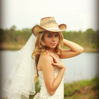 Western wedding Cowgirl hat and veil-western wedding-cowgirl hat-Bridal cowgirl hat-western bride