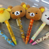 San-x Rilakkuma Taiwan 7-11 Limited Korilakkuma Kiiroitori 6 Plush Head Doll Pen Set