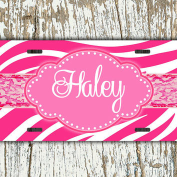Personalized front license plate, monogrammed gift, Zebra license plate - Hot pink zebra stripe with cheetah -  monogram car tag auto (1275)