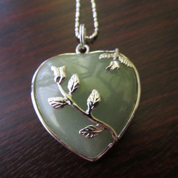 Light Jade Green Rose Pendant Silver Chain Necklace
