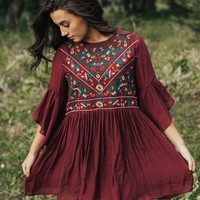Isabella Embroidered Tunic in Berry - Henly