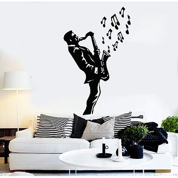 Wall Stickers Vinyl Decal Saxophone Blues Music Jazz Musician Decor Unique Gift (ig1019)