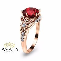 Unique Ruby Engagement Ring-Cushion Cut Ruby Engagement Ring-In 14K Rose Gold