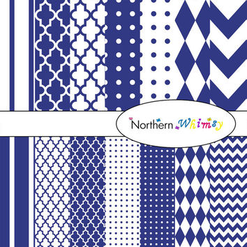 Digital Scrapbooking Set – Indigo Blue and White paper in stripes, chevron, polka dot, stripe, harlequin, and quatrefoil  INSTANT DOWNLOAD