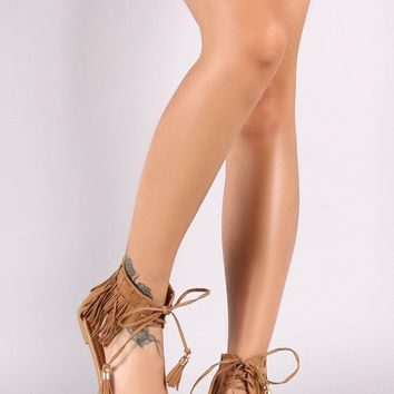 Suede Open Toe Lace Up Fringe Flat Sandal