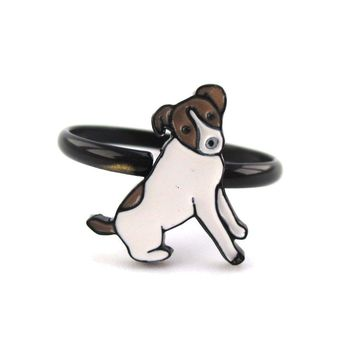 Jack Russell Terrier Shaped Dog Inspired Adjustable Ring