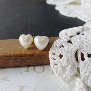 PEARL love heart shaped white pearl post earrings gold by brideblu