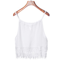 Crop Tops Blusas Femininos 2016 Summer Style Deep Casual Women Blouses Sexy Fashion Lace tank top Camis Blouse Tee T-Shirt White