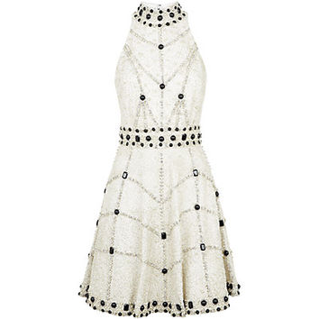 Alice + Olivia High Neck Embellished Dress