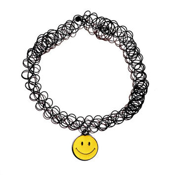 smiley face tattoo choker black double strand choker emoji vintage 90s grunge tumblr
