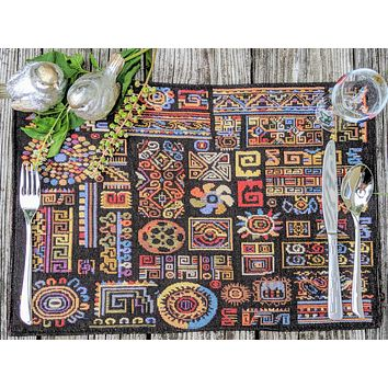 """DaDa Bedding Ethnic Ornaments Geometric Black Placemats, Set of 4 Tapestry 13"""" x 19"""" (18118)"""
