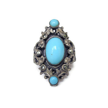 Art Deco Ring, Czech Ring, Silver Ring, Marcasite, Blue Czech Glass, Filigree Metal, Antique Ring, Vintage Jewelry, Size 5.75