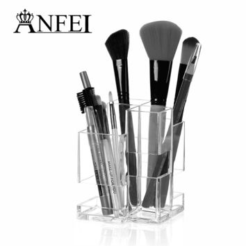 New Design Clear Acrylic Cosmetic Organizer Makeup Jewelry Cosmetic Storage Display Box Lipstick Brush Stand Holder Display