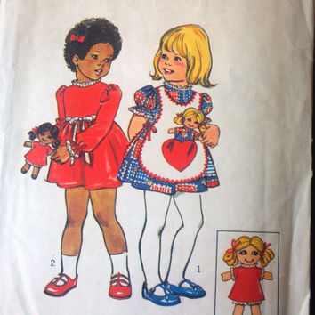 Simplicity 6684 Pattern for Toddler's Dress, Apron, & Doll Pattern, Size 1, From 1974
