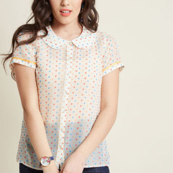 Darling in Dots Button-Up Top in Confetti Hearts
