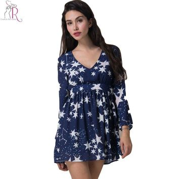 Dark Blue Flared Bell Long Sleeve Star Prints Mini Skater Dress High Waist Casual V Neck Dresses Spring Summer Women