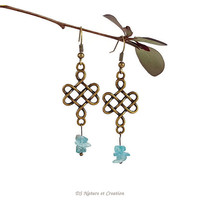 Bronze earrings Apatite jewelry Dangle gemstone earrings Blue stone jewelry Wire cross earrings Apatite earrings DS Nature et Creation Wyi
