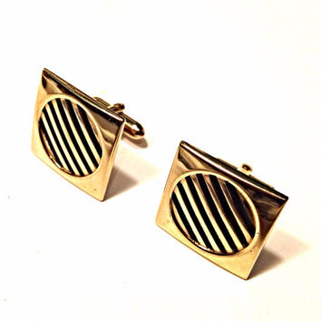 Vintage Swank Square Cufflinks Gold Tone with Round Black Stripe Design Mid Century Mod