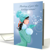 Girl Blowing Snowflakes for Missing You during Christmas Season card