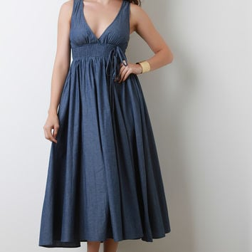 Smock Empire A-Line Denim Midi Dress | UrbanOG